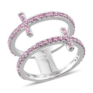 Niassa Pink Sapphire Platinum Over Sterling Silver Double Band Open Cross Ring (Size 7.0) TGW 2.000 cts.