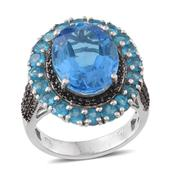 Electric Blue Topaz, Malgache Neon Apatite, Thai Black Spinel Platinum Over Sterling Silver Ring (Size 8.0) TGW 14.05 cts.