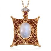 Treasures from the Orient Sri Lankan Rainbow Moonstone, Mozambique Garnet, White Topaz 14K YG Over Sterling Silver Pendant With Chain (20 in) TGW 8.295 cts.
