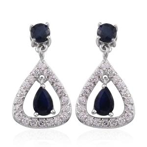 Kanchanaburi Blue Sapphire, White Zircon Platinum Over Sterling Silver Dangle Drop Earrings TGW 2.81 cts.