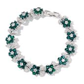 Green Austrian Crystal, Simulated White Diamond Silvertone Bracelet (7.50 In) TGW 5.00 cts.