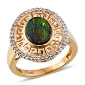 Treasures from the Orient Canadian Ammolite, White Topaz 14K YG Over Sterling Silver Ring (Size 7.0) TGW 2.420 cts.