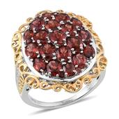 Mozambique Garnet, White Topaz 14K YG and Platinum Over Sterling Silver Ring (Size 9.0) TGW 7.670 cts.