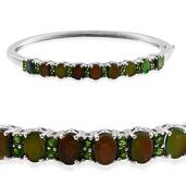 Canadian Ammolite, Russian Diopside Platinum Over Sterling Silver Bangle (7.5 in) TGW 8.900 cts.