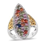 Multi Gemstone 14K YG and Platinum Over Sterling Silver Ring (Size 8.0) TGW 4.510 cts.