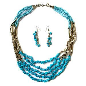 Blue Howlite, Blue Seed Bead Stainless Steel Earrings and Necklace (22 in)