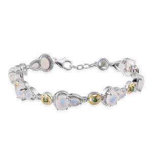 Treasures from the Orient Sri Lankan Rainbow Moonstone, Russian Diopside 14K YG and Platinum Over Sterling Silver Bracelet (7.50 In) TGW 15.750 cts.