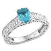 Madagascar Paraiba Apatite Platinum Over Sterling Silver Solitaire Euro Style Ring (Size 10.0) TGW 1.20 cts.