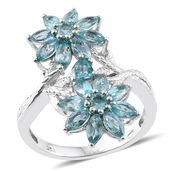 Madagascar Paraiba Apatite Platinum Over Sterling Silver Floral Ring (Size 6.0) TGW 4.85 cts.