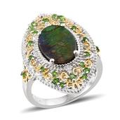 Canadian Ammolite, Russian Diopside, White Topaz 14K YG and Platinum Over Sterling Silver Ring (Size 10.0) TGW 4.07 cts.