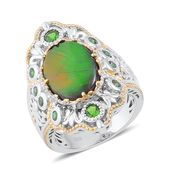 Canadian Ammolite, Russian Diopside 14K YG Over and Sterling Silver Ring (Size 9.0) TGW 4.04 cts.