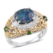 Australian Mosaic Opal, Russian Diopside, Diamond 14K YG and Platinum Over Sterling Silver Ring (Size 7.0) TDiaWt 0.01 cts, TGW 3.160 cts.