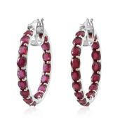 Niassa Ruby Platinum Over Sterling Silver Inside Out Hoop Earrings TGW 16.00 cts.