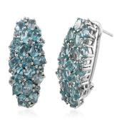 Madagascar Paraiba Apatite Platinum Over Sterling Silver Omega Clip Earrings TGW 7.800 cts.