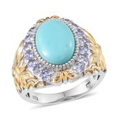 Sonoran Blue Turquoise, Tanzanite 14K YG and Platinum Over Sterling Silver Ring (Size 9.0) TGW 5.60 cts.