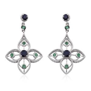 GP Kanchanaburi Blue Sapphire, Kagem Zambian Emerald Platinum Over Sterling Silver Openwork Dangle Earrings TGW 4.60 cts.