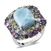 GP Larimar, Multi Gemstone Platinum Over Sterling Silver Statement Ring (Size 7.0) TGW 18.900 cts.