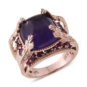 GP Amethyst, Multi Gemstone 14K RG Over Sterling Silver Ring (Size 7.0) TGW 18.800 cts.