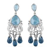 Royal Jaipur Larimar, Blue Topaz Platinum Over Sterling Silver Chandelier Earrings TGW 25.520 cts.