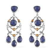 Royal Jaipur Tanzanite, Ruby 14K YG and Platinum Over Sterling Silver Earrings TGW 9.33 Cts.