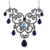 Royal Jaipur Lapis Lazuli, Ruby, Arizona Sleeping Beauty Turquoise Bead Sterling Silver Necklace (20 in) TGW 11.640 cts.