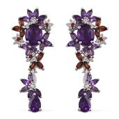 Royal Jaipur Multi Gemstone Platinum Over Sterling Silver Earrings TGW 5.45 Cts.