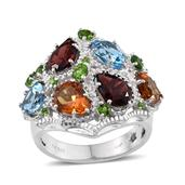 GP Multi Gemstone Platinum Over Sterling Silver Ring (Size 7.0) TGW 7.845 cts.
