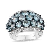 Cambodian Blue Zircon, White Zircon Platinum Over Sterling Silver Ring (Size 6.0) TGW 11.020 cts.