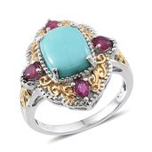 Sonoran Blue Turquoise, Ruby 14K YG and Platinum Over Sterling Silver Ring (Size 8) TGW 4.430 cts.