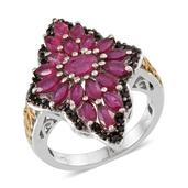Niassa Ruby, Thai Black Spinel 14K YG and Platinum Over Sterling Silver Ring (Size 10.0) TGW 5.030 cts.