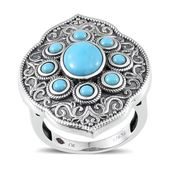 Royal Jaipur Arizona Sleeping Beauty Turquoise, Niassa Ruby Sterling Silver Detailed Ring (Size 7.0) TGW 2.83 cts.