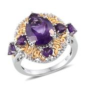 Lusaka Amethyst, White Topaz 14K YG and Platinum Over Sterling Silver Ring (Size 7.0) TGW 6.060 cts.