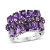 Lusaka Amethyst, Diamond Platinum Over Sterling Silver Ring (Size 6.0) TDiaWt 0.02 cts, TGW 9.160 cts.