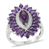 Lusaka Amethyst, White Topaz Platinum Over Sterling Silver Ring (Size 8.0) TGW 4.970 cts.