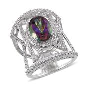 Northern Lights Mystic Topaz, White Topaz Platinum Over Sterling Silver Ring (Size 7.0) TGW 9.750 cts.