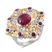 Royal Jaipur Ruby, Niassa Ruby 14K YG and Platinum Over Sterling Silver Openwork Statement Ring (Size 8.0) TGW 8.930 cts.