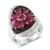 Niassa Ruby, Thai Black Spinel, White Topaz Platinum Over Sterling Silver Fancy Floral Ring (Size 9.0) TGW 8.090 cts.