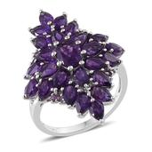 Lusaka Amethyst Platinum Over Sterling Silver Ring (Size 7.0) TGW 6.310 cts.