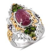 Royal Jaipur Ruby, Russian Diopside, Tanzanite 14K YG and Platinum Over Sterling Silver Openwork Elongated Ring (Size 6.0) TGW 10.710 cts.