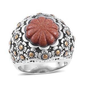 Red Goldstone ION Plated YG and Stainless Steel Ring (Size 8.0) TGW 15.00 cts.