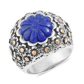 Lapis Lazuli ION Plated YG and Stainless Steel Floral Engraved Ring (Size 6.0) TGW 6.50 cts.
