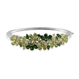 Russian Diopside, Multi Gemstone Platinum Over Sterling Silver Bangle (6.50 in) TGW 14.180 Cts. TGW 14.18 Cts.