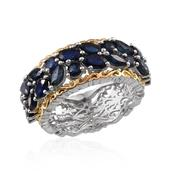 Kanchanaburi Blue Sapphire 14K YG and Platinum Over Sterling Silver Ring (Size 8.0) TGW 4.520 cts.