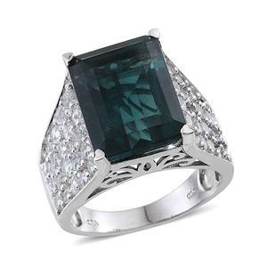 Belgian Teal Fluorite, White Topaz Platinum Over Sterling Silver Ring (Size 7.0) TGW 19.380 cts.
