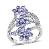 Tanzanite, White Zircon Platinum Over Sterling Silver Openwork Elongated Floral Ring (Size 7.0) TGW 3.70 cts.