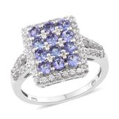Tanzanite, White Zircon Platinum Over Sterling Silver Cluster Split Ring (Size 6.0) TGW 3.15 cts.
