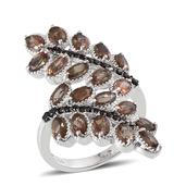 Jenipapo Andalusite, Thai Black Spinel Platinum Over Sterling Silver Nature Inspired Ring (Size 7.0) TGW 6.005 cts.