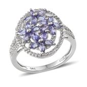 Tanzanite, White Topaz Platinum Over Sterling Silver Openwork Ring (Size 7.0) TGW 2.50 cts.