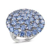 J Francis - Platinum Over Sterling Silver Filigree Swirl Ring Made with Blue SWAROVSKI ZIRCONIA (Size 6.0) TGW 31.800 cts.