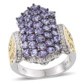 Tanzanite, White Zircon 14K YG and Platinum Over Sterling Silver Openwork Cluster Ring (Size 9.0) TGW 5.700 cts.